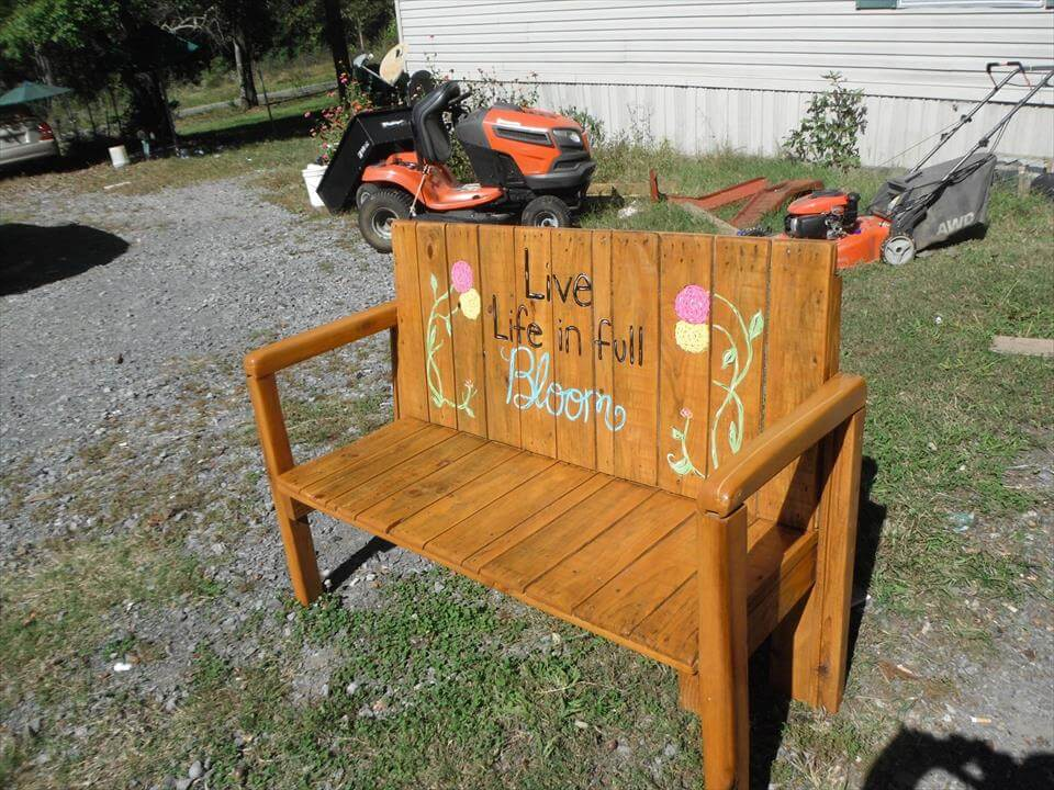 recycled pallet personalized bench