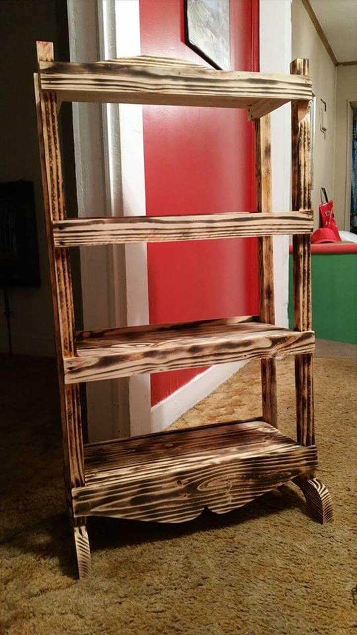 upcycled pallet scorched bookshelf