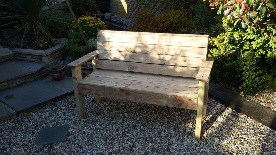 handmade patio bench with armrests