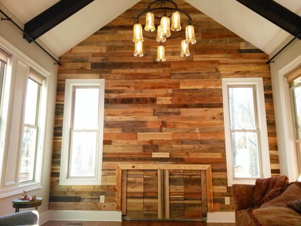 pallet wood wall paneling stairway and living room pallet wall for living room - Wooden Panelling For Interior Walls