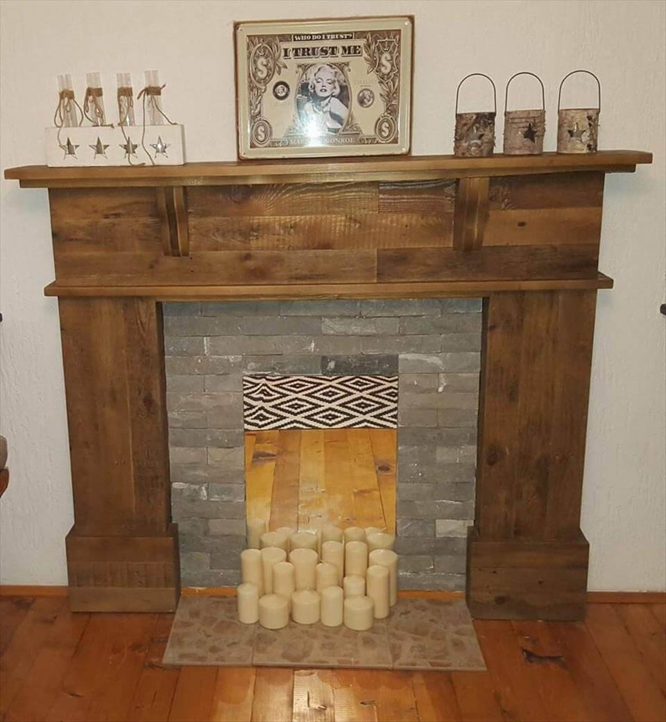 Rustic pallet mantle shelf