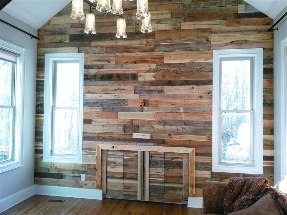 Pallet Wall For Living Room 101 Pallet Ideas