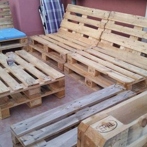 rustic pallet wood patio sofa set