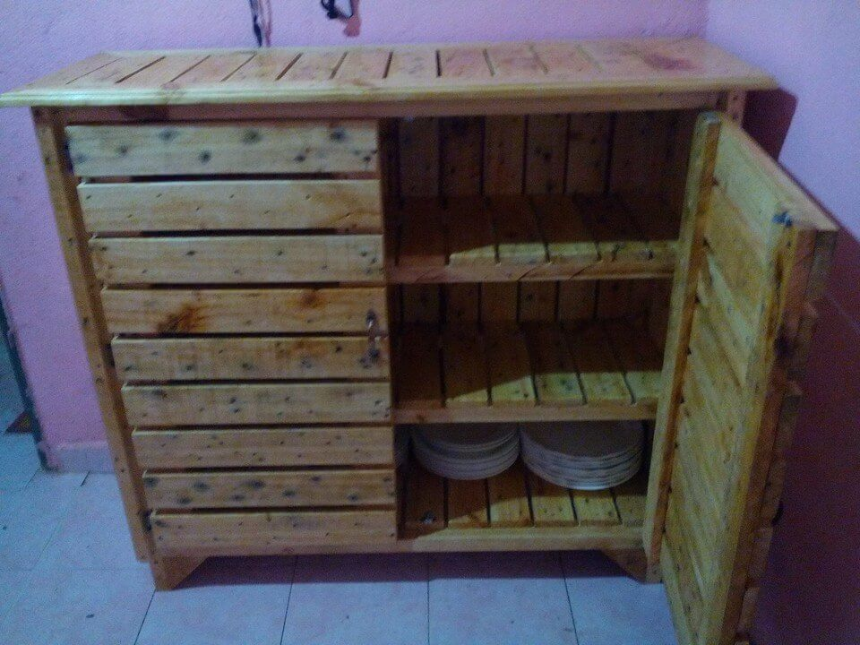 DIY Pallet Sideboard or Kitchen Cabinet : wooden pallet sideboard or kitchen utensil cabinet from www.101palletideas.com size 960 x 720 jpeg 108kB