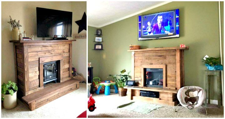 Pallet Fireplace With Tv Stand 101 Pallet Ideas