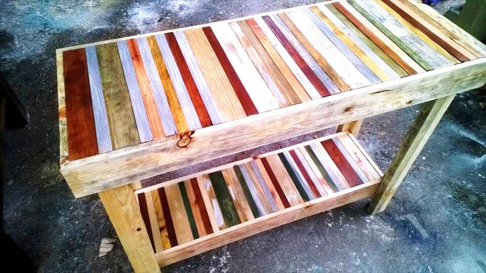 colorful pallet island or console table
