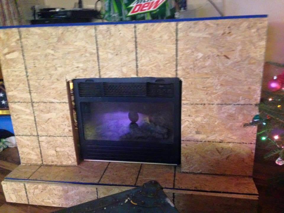 wooden pallet fireplace