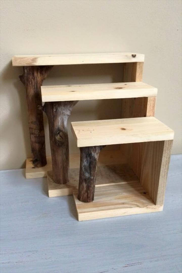 Diy pallet shelf and tree branch coat rack for Shelves made out of wood pallets