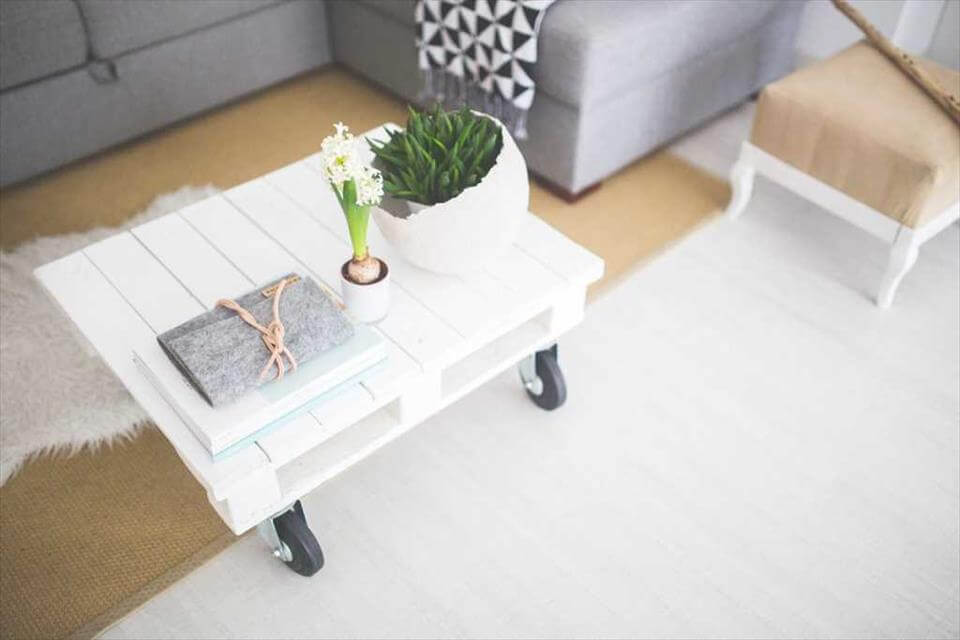 mini chic white pallet coffee table with wheels