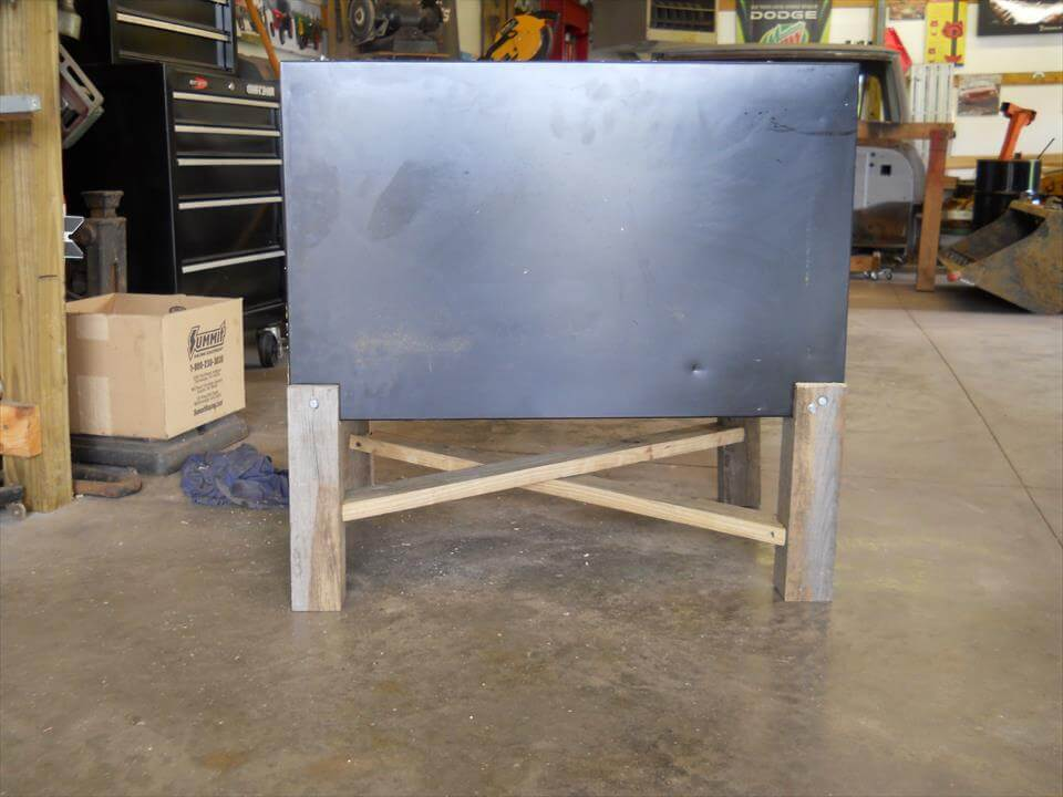 handmade pallet and fridge cooler