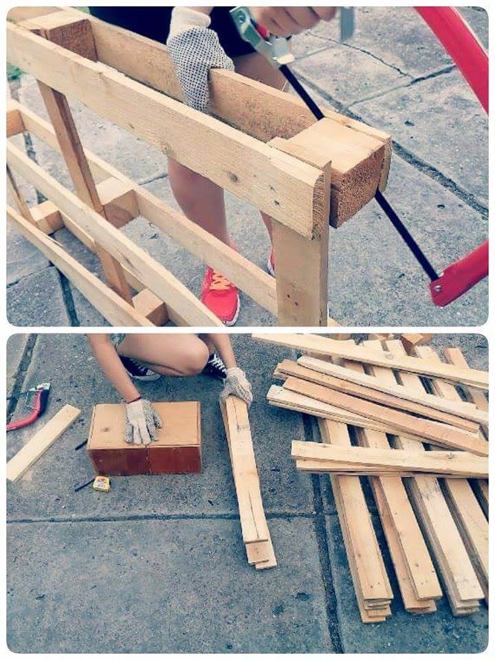 tearing the pallets apart