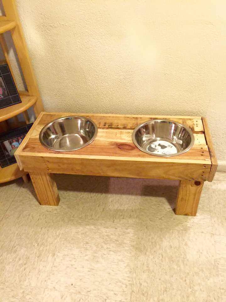 low-cost pallet dog bowl stand