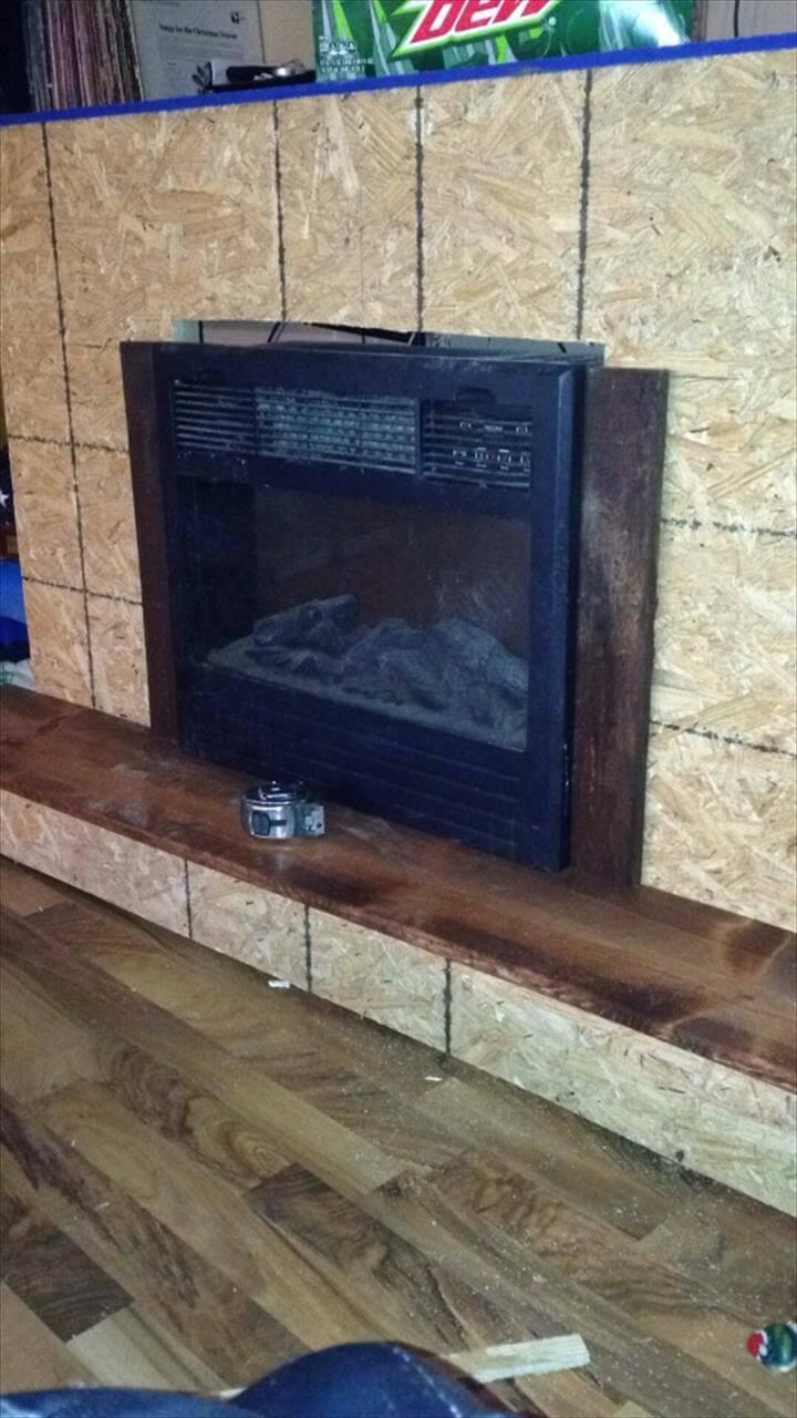 wooden pallet fireplace installation