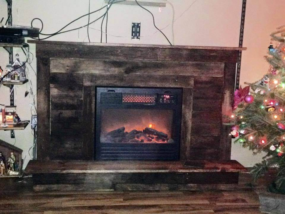 upcycled wooden pallet rustic fireplace