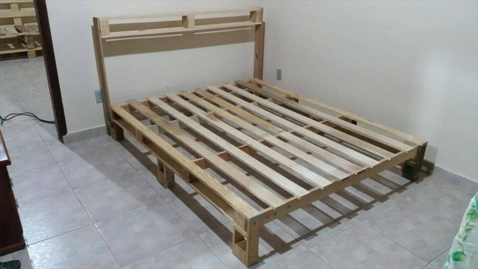 handcrafted pallet rustic bed frame