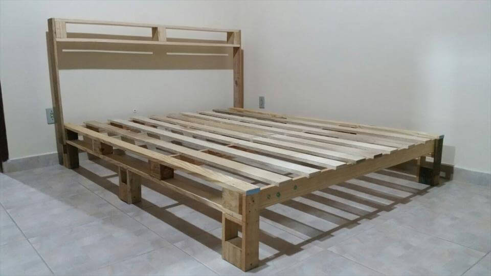 White Chic Pallet Platform Bed With Storage Creative Pallet Bed Plan ...