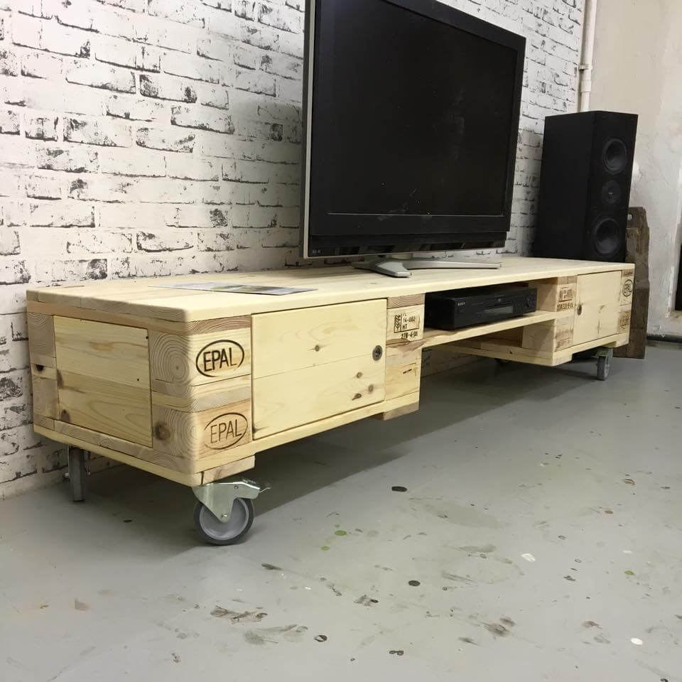 Pallet TV Stand With Cabinets