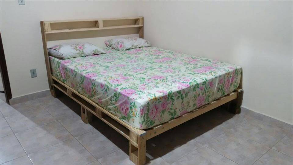upcycled wooden pallet platform bed