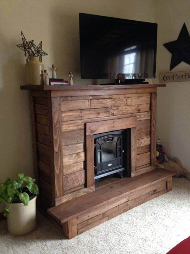 Pallet fireplace with tv stand for Building a corner fireplace