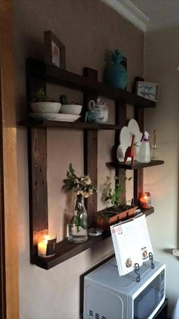 recycled pallet display shelf