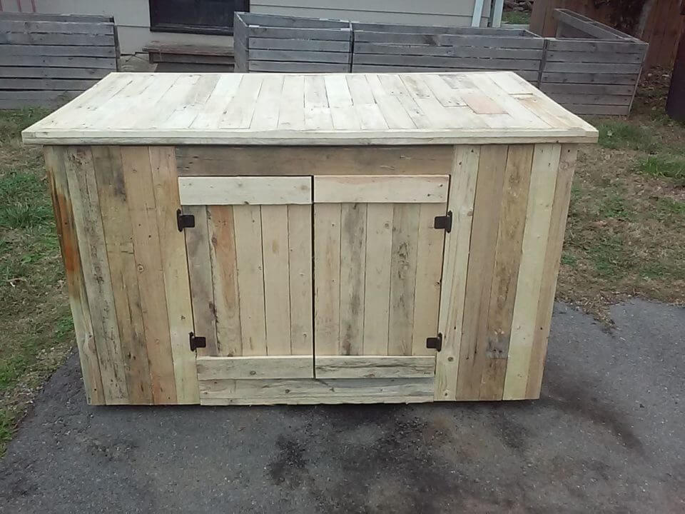 Wooden Pallet Kitchen Island with Cabinets
