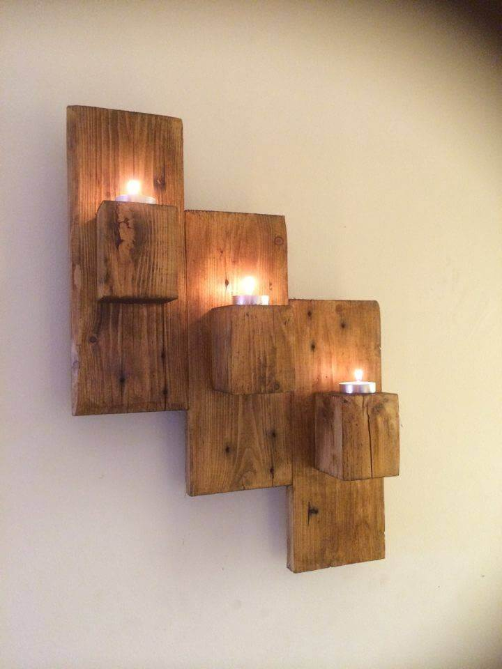Wood Wall Hanging pallet wall mounted candle holders