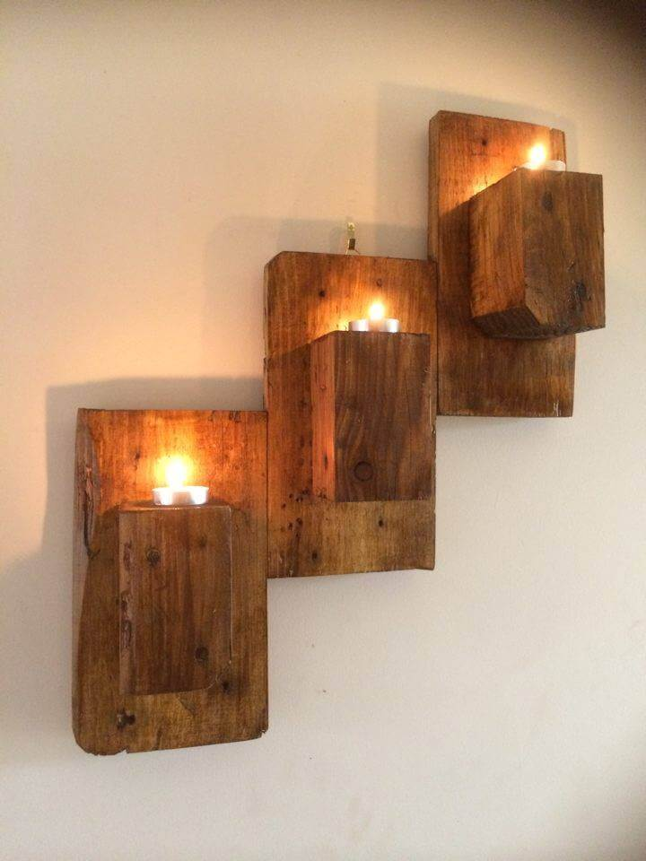 How To Make Wall Sconces For Candles : Wall Mounted Pallet Candle Holders - 101 Pallet Ideas