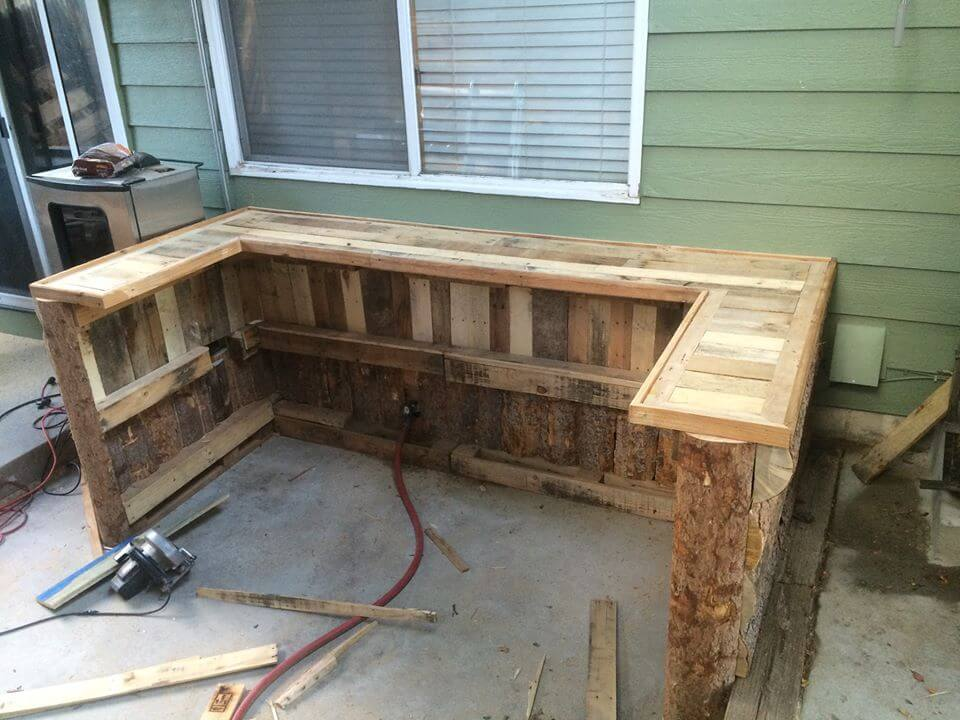 Upcycled Pallet Outdoor Kitchen 101 Pallet Ideas