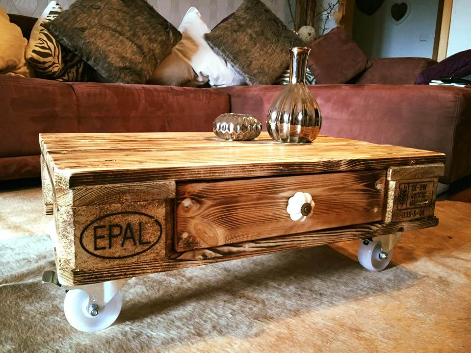 colorful pallet coffee table with wheels