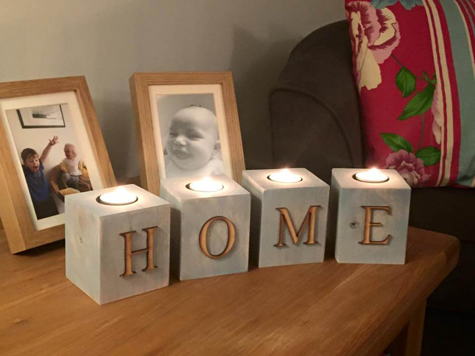upcycled pallet HOME candle votives