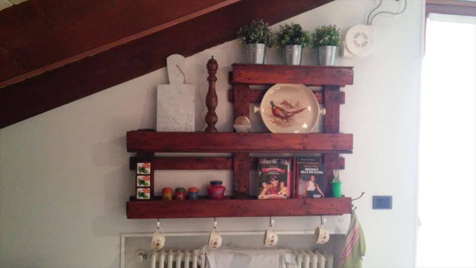 upcycled wooden pallet art style wall shelf