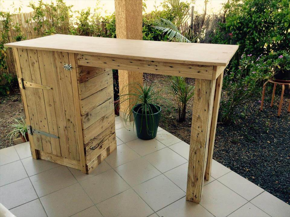 handmade wooden pallet bar with storage