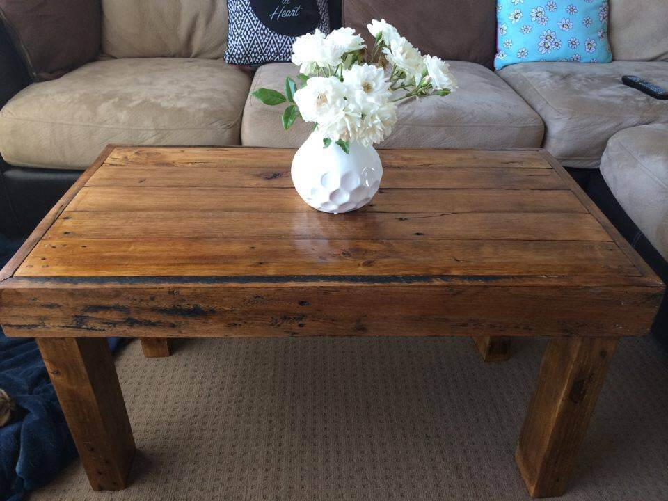 Pallet coffee table 100 reclaimed pallets for Pallet coffee table ideas