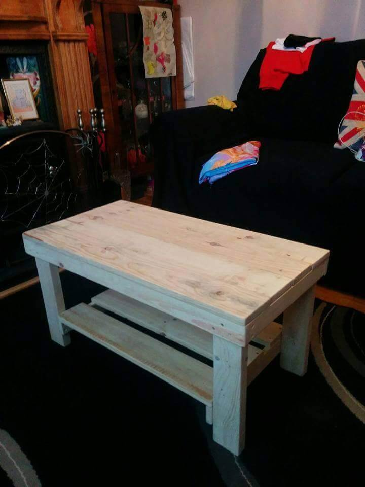 Pallet Coffee Table With Shelf Underneath