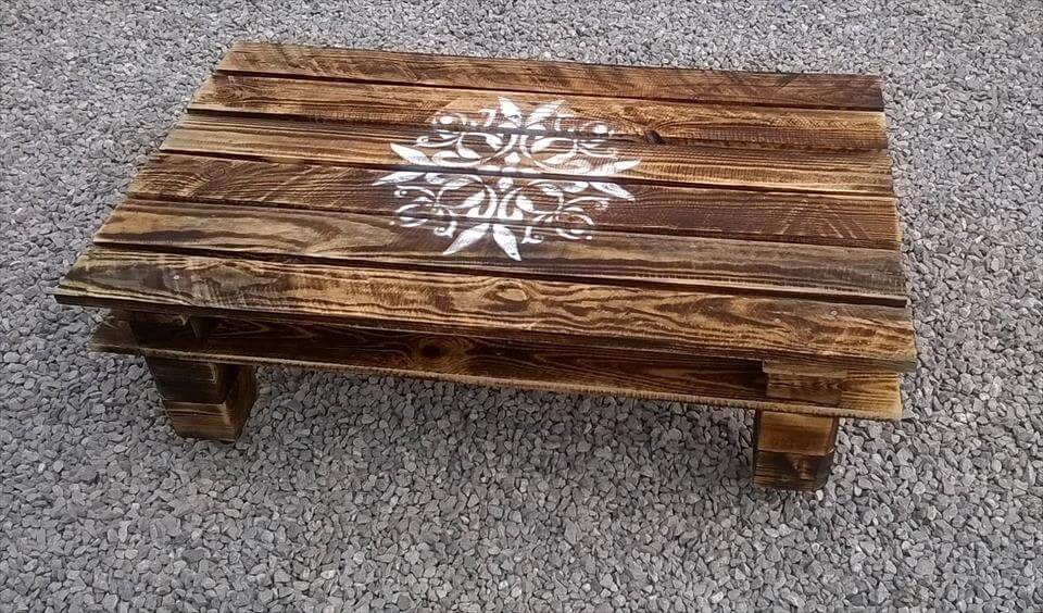 stenciled pallet coffee table
