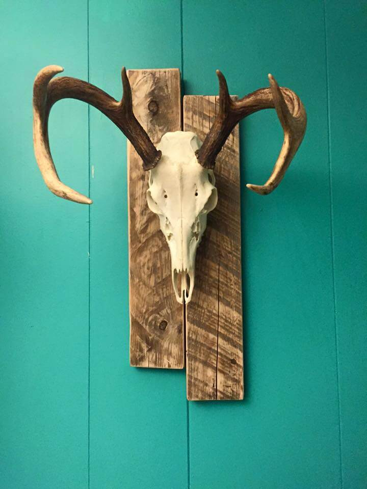 handcrafted dear head pallet wall art