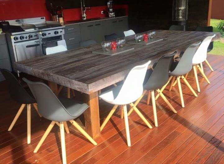 Simple wood pallet dining table set for Simple wood dining table