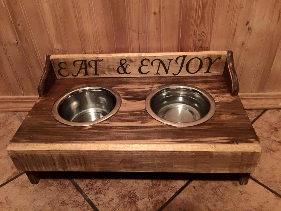 recycled pallet dog bowl