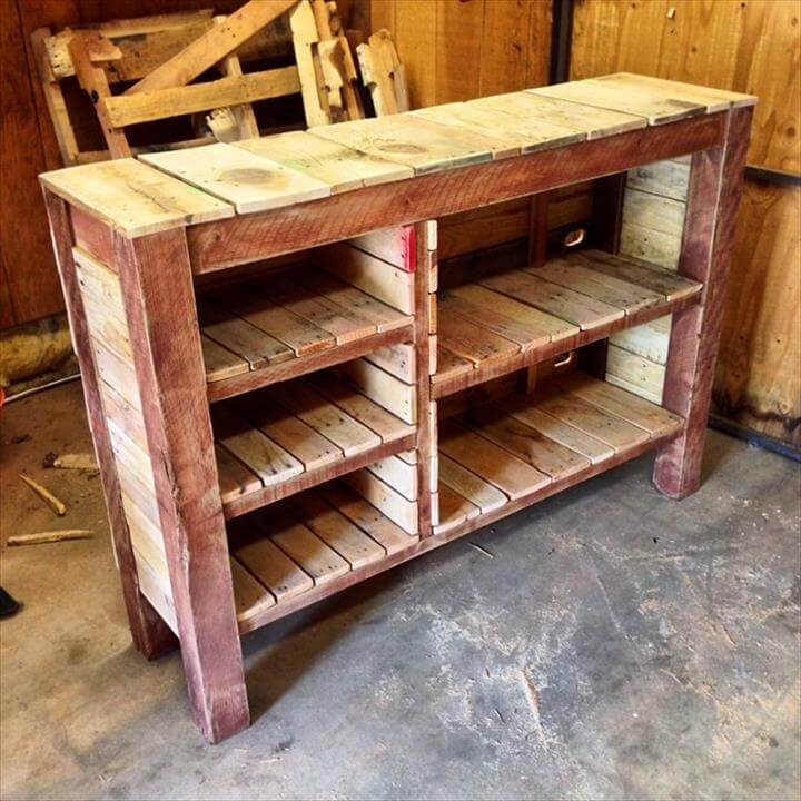 upcycled wooden pallet kitchen crockery cabinet