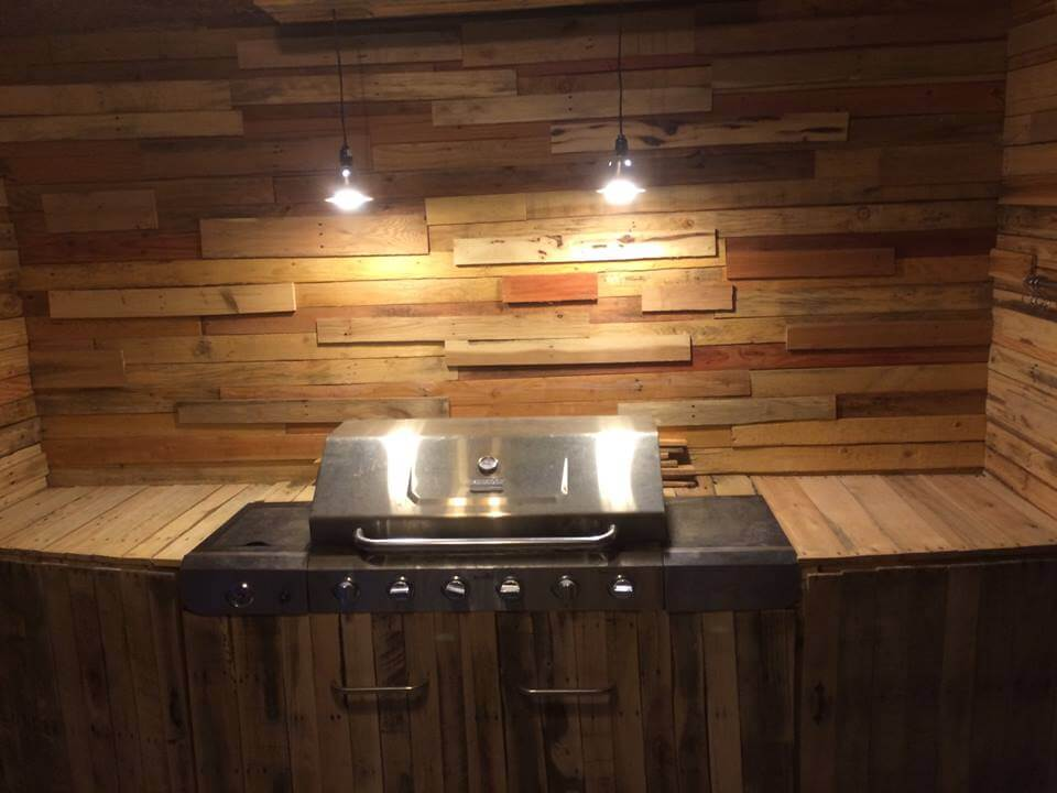 handcrafted pallet kitchen stove