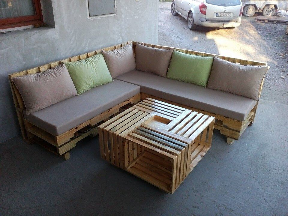 Wooden pallet l shape sofa set - Wooden corner sofa designs ...