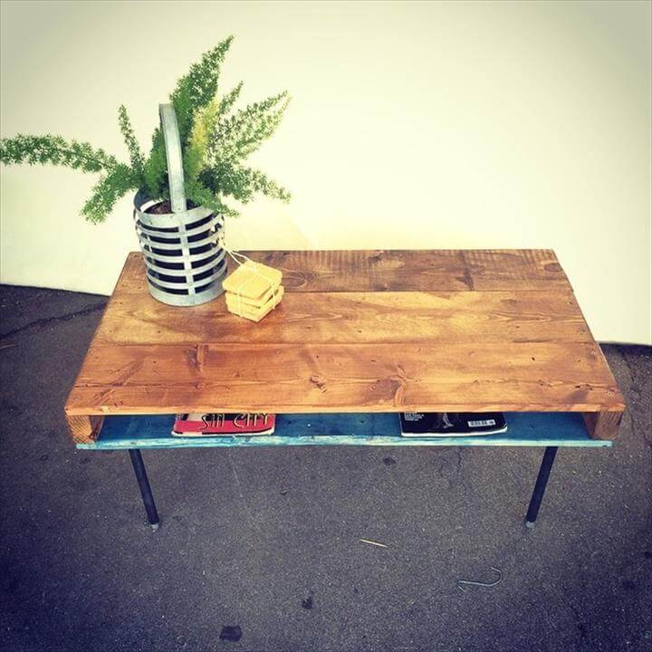 upcycled pallet table with metal legs