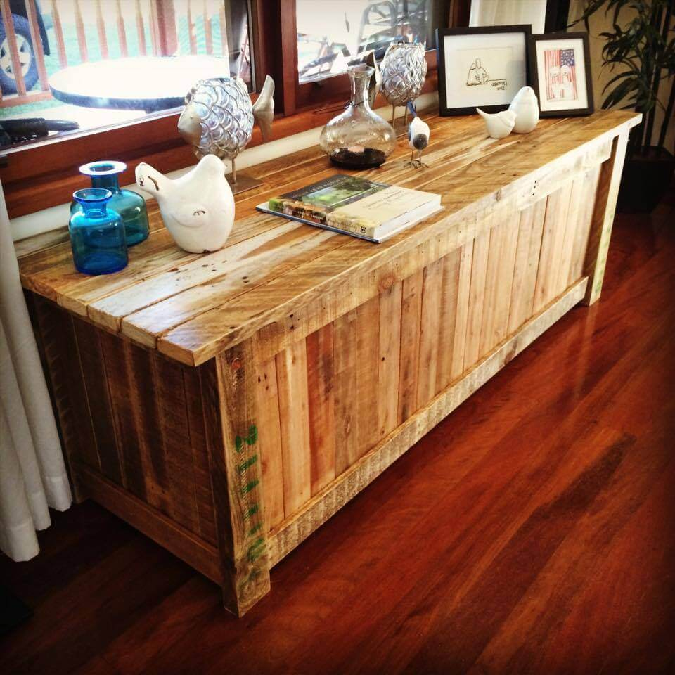 pallet window side table or sideboard