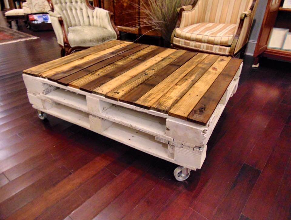 milky white and brown pallet coffee table with wheels