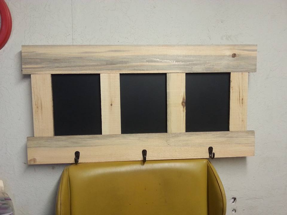 Pallet Coat Rack with Chalkboard