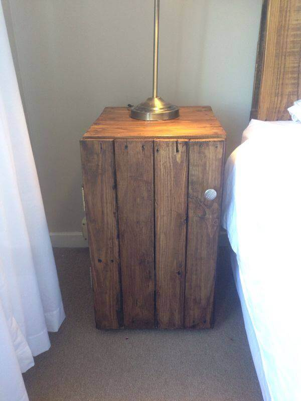 upcycled wooden nightstand