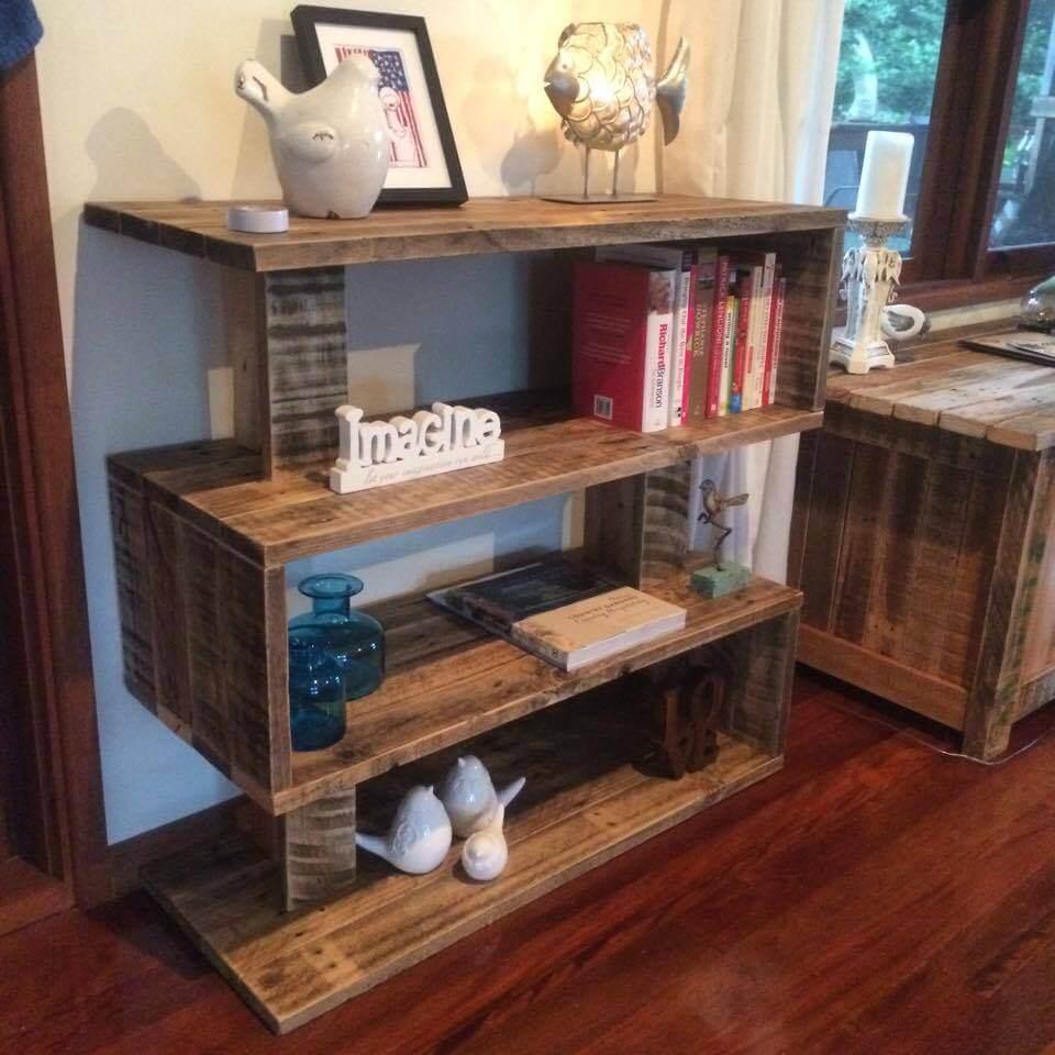 art style pallet bookshelf