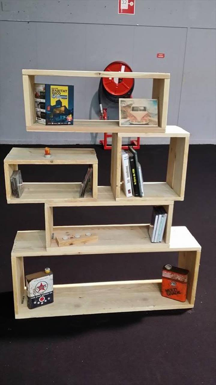 wooden pallet art style shelving unit