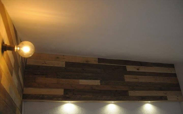pallet wood paneled wall with lights