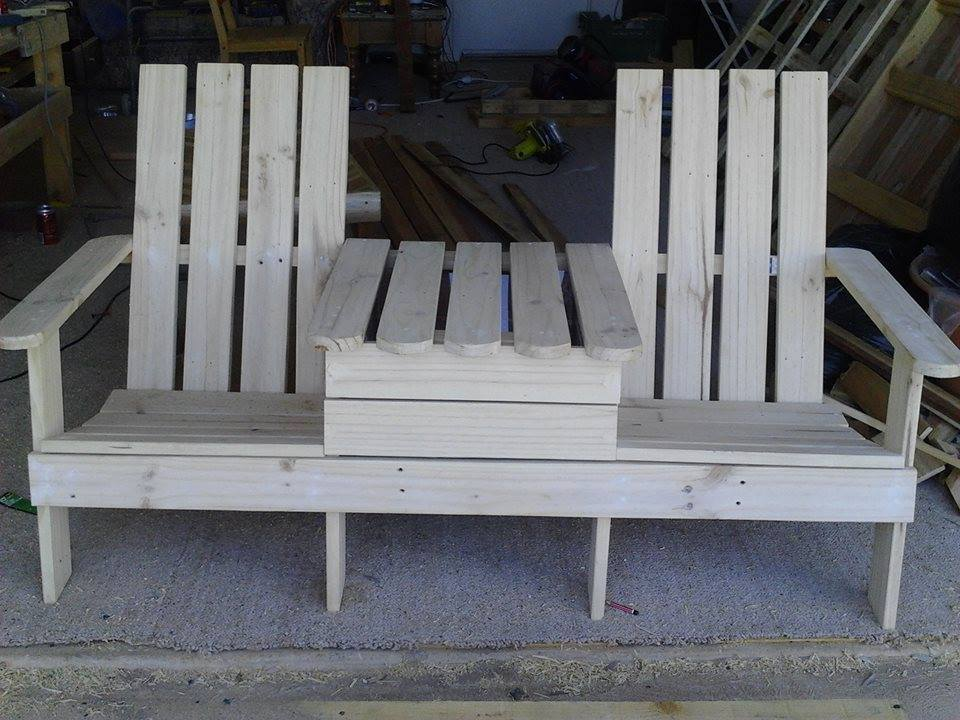 super sturdy double chair pallet bench